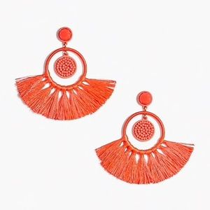 NWT JCREW BEADED TASSEL EARRINGS IN NEON PAPAYA